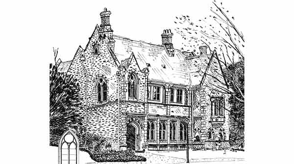 pen and ink drawing of historic building